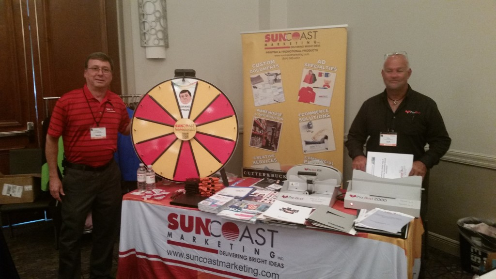 "Randy with his ""Euby"" wheel and Jeff Kohn representing Probind at the Suncoast table!"